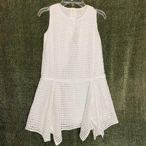 CREWCUTS 8 White Lace Handkerchief Hem Dress